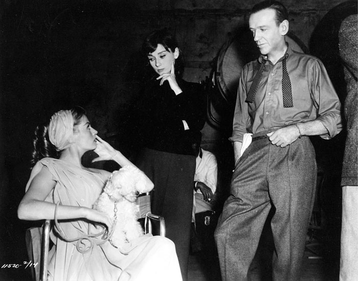 Audrey Hepburn, Fred Astaire and Anita Ekberg on Funny Face set